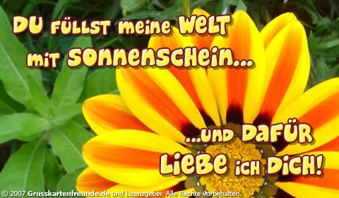 Du fllst meine Welt mit Sonnenschein und dafr liebe ich dich!