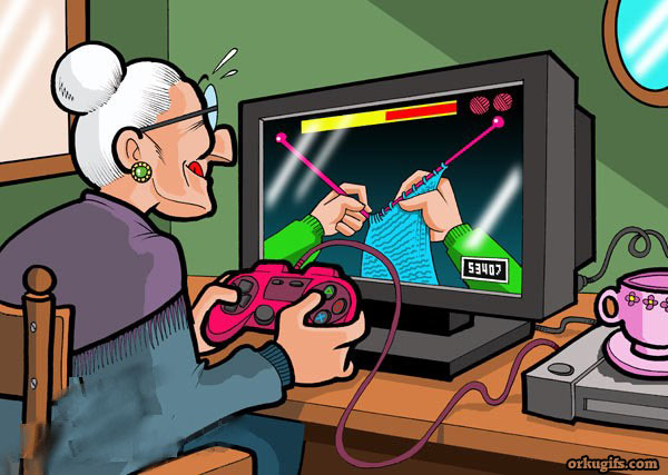 Granny playing video-game