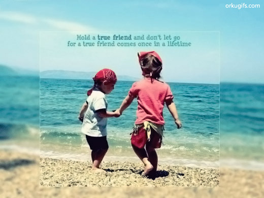 Hold a true friend and don't let go for a true friend comes once in a lifetime